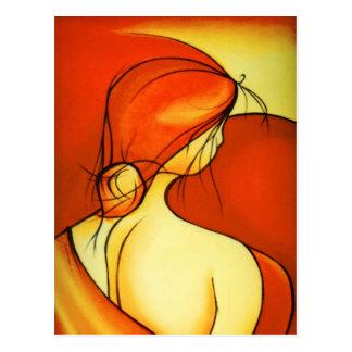 Wistful Lady In Orange Postcard