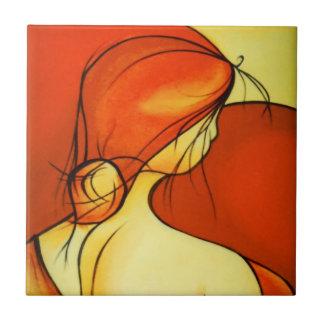 Wistful Lady In Orange Tile