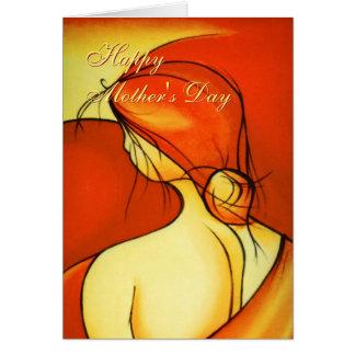 Wistful Mothers Day Lady in Orange Card