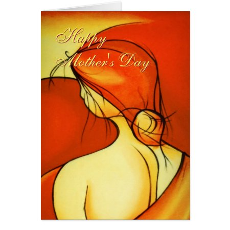 Wistful Mothers Day Lady in Orange Card
