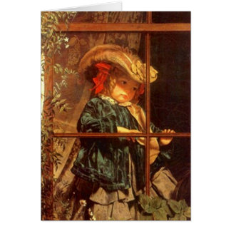 Wistful Victorian Peering Out Window Outdoors Card