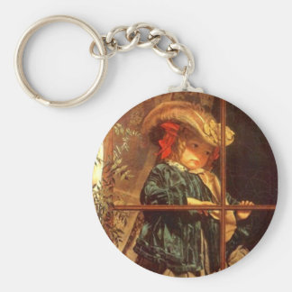 Wistful Victorian Peering Out Window Outdoors Keychain