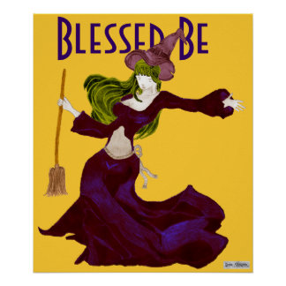 Wistful Witch Blessed Be Halloween Poster
