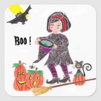 Witch 2, Boo !Halloween white stickers