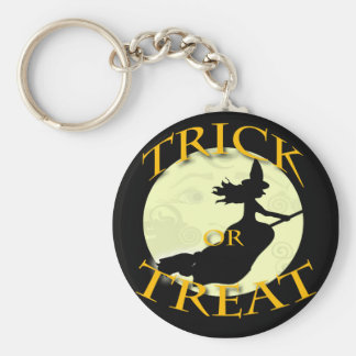 witch-across-the-moon-stamp basic round button keychain