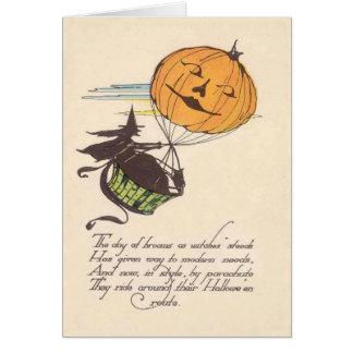 Witch Air Balloon Jack O Lantern Pumpkin Card