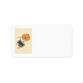 Witch Air Balloon Jack O Lantern Pumpkin Label