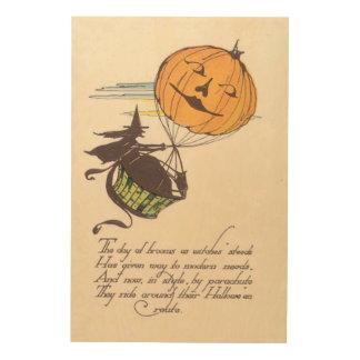 Witch Air Balloon Jack O Lantern Pumpkin Wood Wall Art