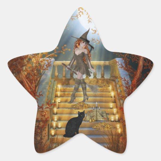Witch an Spell Book Star Sticker