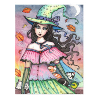 Witch and 3 Cats Postcard by Molly Harrison