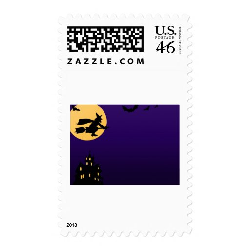 Witch and bats postage