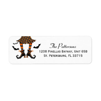 Witch and Bats Whimsical Halloween Label