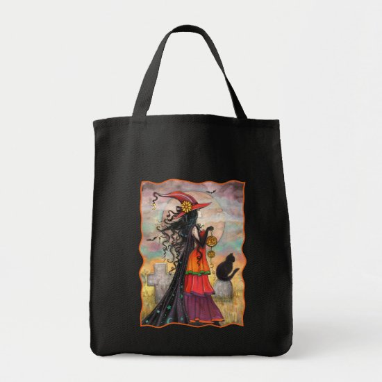 Witch and Black Cat Halloween Tote Bag