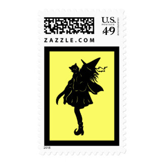 Witch and Black Cat Haloween stamp