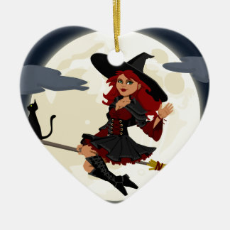 Witch And Black Cat Image Ceramic Ornament