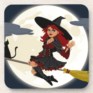 Witch And Black Cat Image Coasters