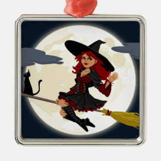 Witch And Black Cat Image Metal Ornament