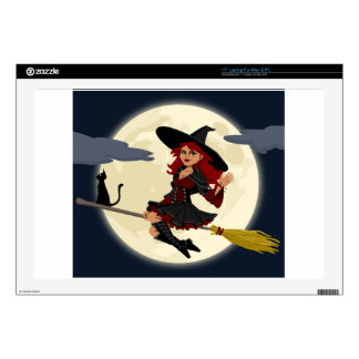 """Witch And Black Cat Image 17"""" Laptop Skin"""