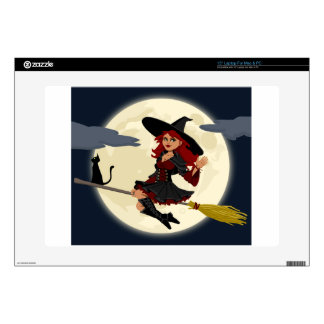 """Witch And Black Cat Image Decals For 15"""" Laptops"""