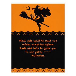 Witch and Black Cat Silhouette Custom Invites