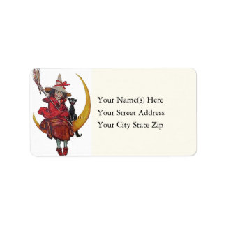 Witch and Black Cat Sitting on Moon Address Label