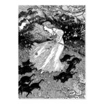Witch and black cats in moonlight large business cards (Pack of 100)