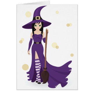 Witch And Broom Greeting Cards