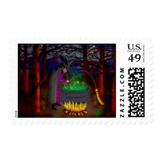 Witch and Broom Postage