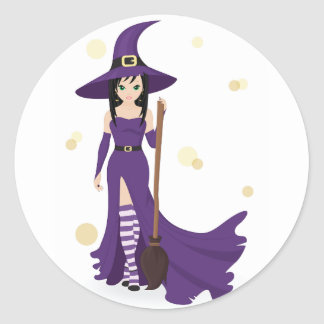 Witch And Broom Stickers