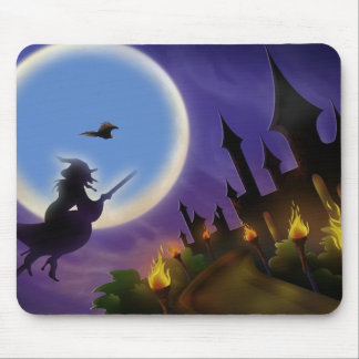 Witch, and Buzzard Halloween Mouse Pad