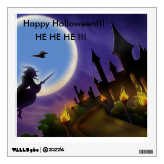 Witch and Buzzard Halloween Wall Decal