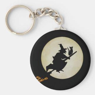 Witch and Cat Basic Round Button Keychain