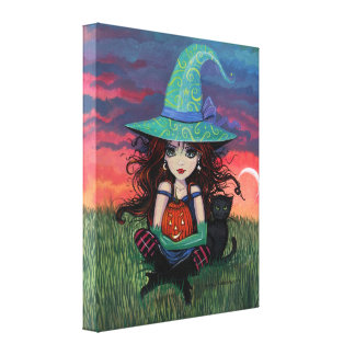 Witch and Cat Canvas Print