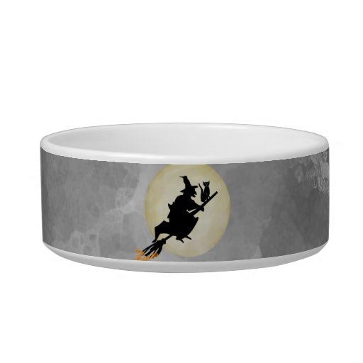 Witch and Cat Cat Food Bowl