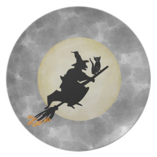 Witch and Cat Dinner Plate