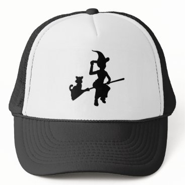 Halloween Themed Witch and Cat Flying On Broomstick Silhouette Trucker Hat