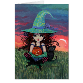 Witch and Cat Halloween Card