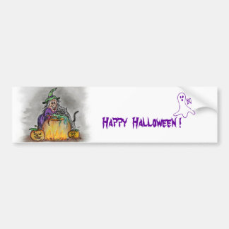 Witch and cat, Happy Halloween! Bumper Sticker