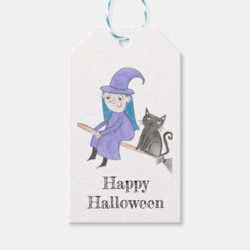 Witch and Cat Happy Halloween Gift Tags