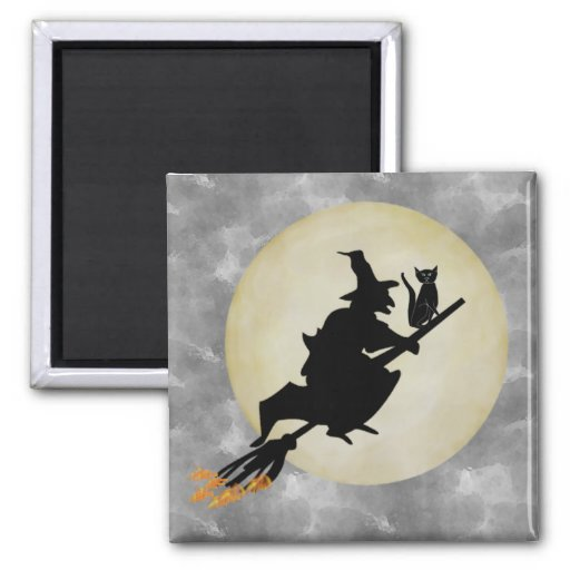Witch and Cat Refrigerator Magnets