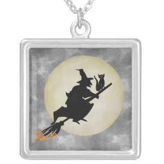 Witch and Cat Personalized Necklace