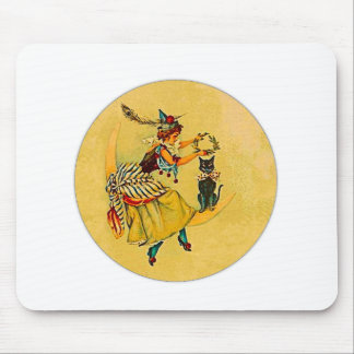 Witch and Cat on Crescent Moon Mouse Pad