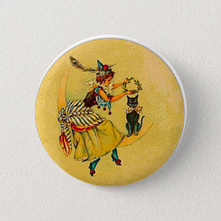 Witch and Cat on Crescent Moon Pinback Button