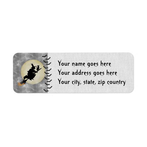 Witch and Cat Return Address Label