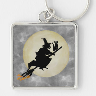 Witch and Cat Silver-Colored Square Keychain