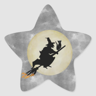 Witch and Cat Star Sticker