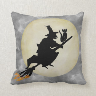Witch and Cat Throw Pillow