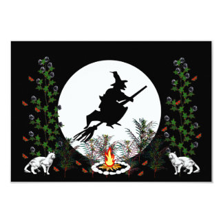 Witch and Cats 3.5x5 Paper Invitation Card
