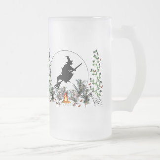 Witch and Cats Frosted Glass Beer Mug