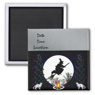 Witch and Cats 2 Inch Square Magnet